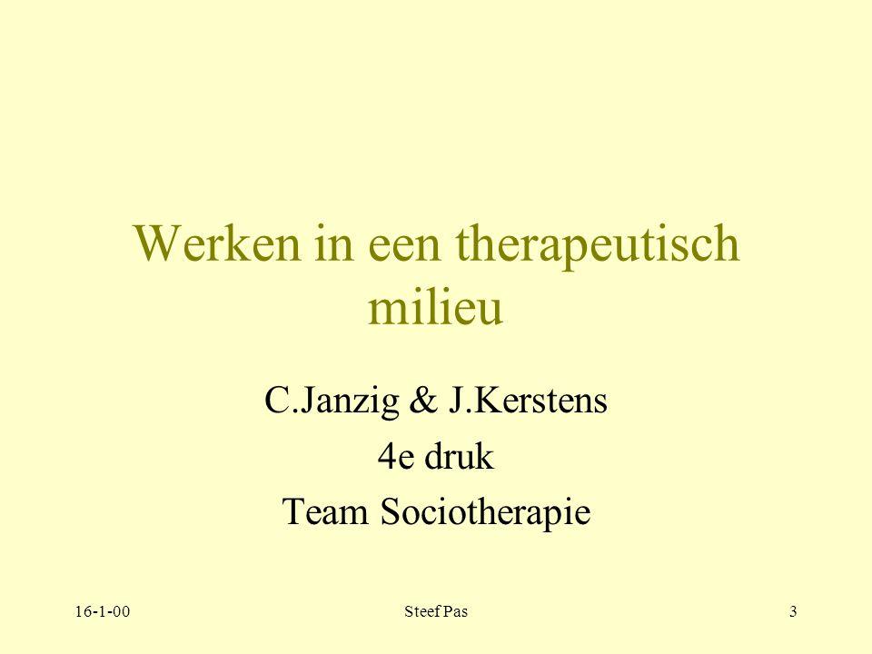 16-1-00Steef Pas2 Welkom in de colleges Sociotherapie team Sociotherapie Productgroep Volwassenen