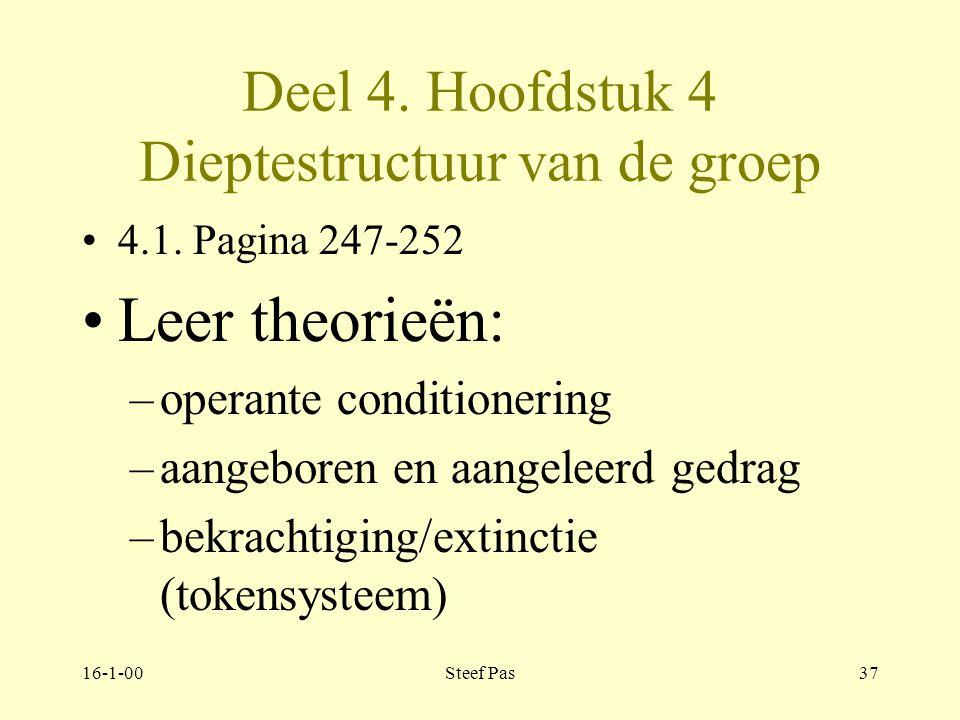 16-1-00Steef Pas36 Deel 4. Hoofdstuk 4 Dieptestructuur van de groep Pagina 246-247 Theorieën over dieptestructuur : leer theorieën psychoanalytische t