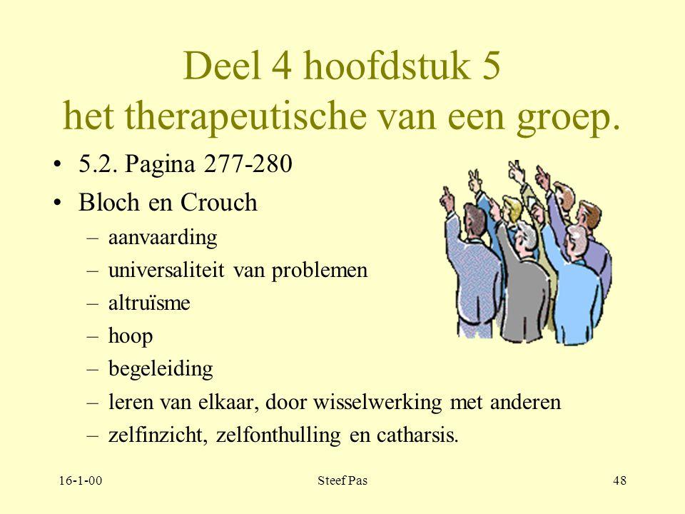 16-1-00Steef Pas47 Deel 4 hoofdstuk 5 het therapeutische van een groep. 5.1. Pagina 275-277 Visies op therapeutische factoren van Cumming en Cumming F