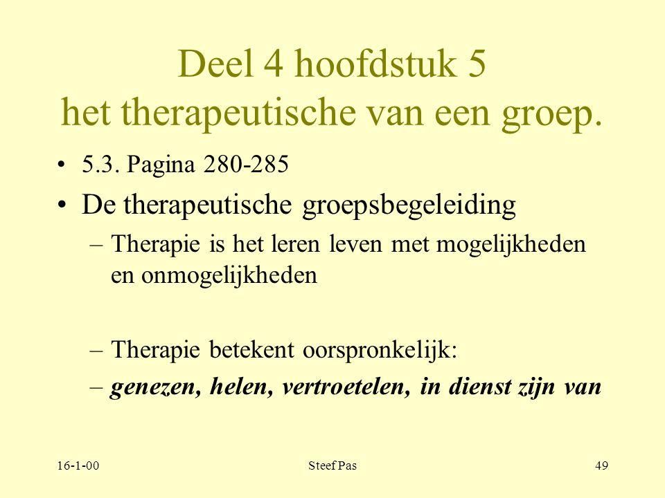 16-1-00Steef Pas48 Deel 4 hoofdstuk 5 het therapeutische van een groep. 5.2. Pagina 277-280 Bloch en Crouch –aanvaarding –universaliteit van problemen