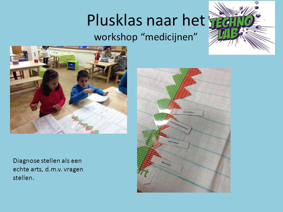 """Plusklas naar het workshop """"medicijnen"""" Diagnose stellen als een echte arts, d.m.v. vragen stellen."""
