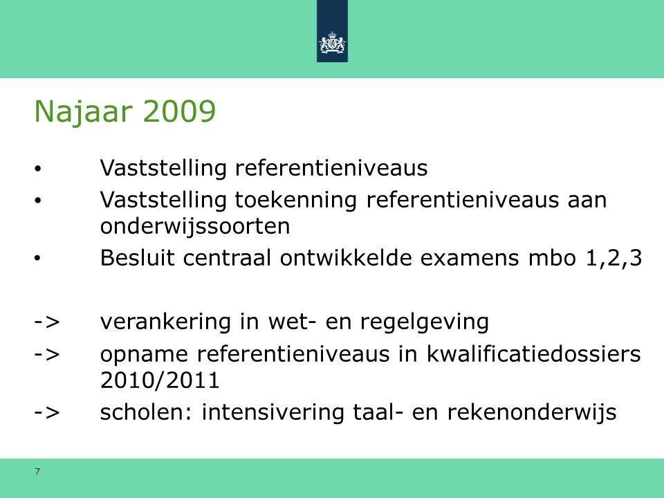 7 Najaar 2009 Vaststelling referentieniveaus Vaststelling toekenning referentieniveaus aan onderwijssoorten Besluit centraal ontwikkelde examens mbo 1,2,3 -> verankering in wet- en regelgeving -> opname referentieniveaus in kwalificatiedossiers 2010/2011 -> scholen: intensivering taal- en rekenonderwijs