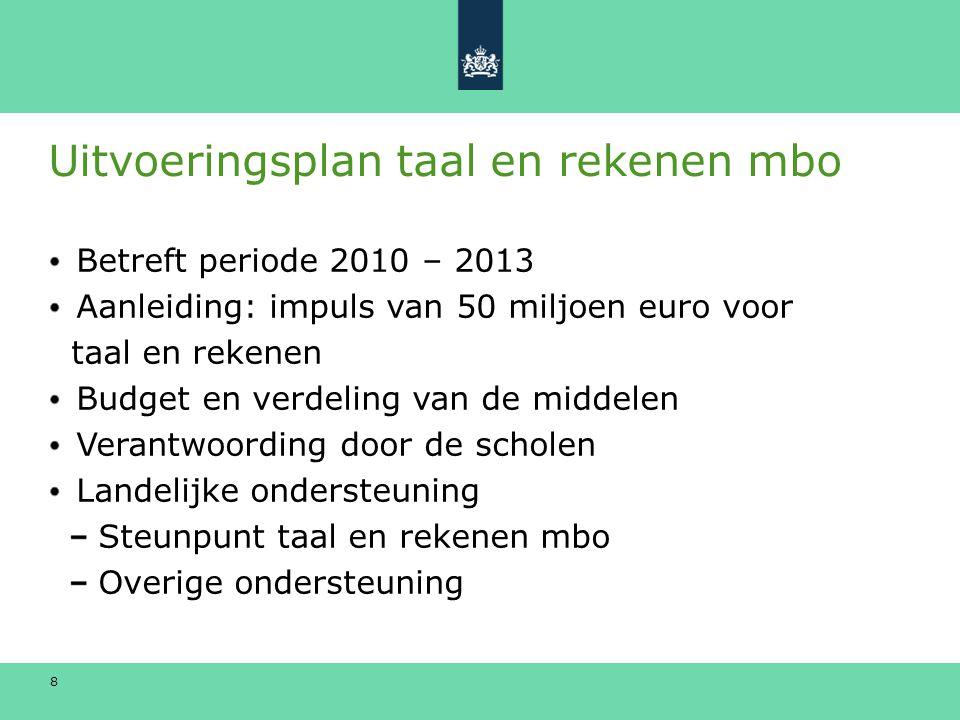 8 Uitvoeringsplan taal en rekenen mbo Betreft periode 2010 – 2013 Aanleiding: impuls van 50 miljoen euro voor taal en rekenen Budget en verdeling van de middelen Verantwoording door de scholen Landelijke ondersteuning Steunpunt taal en rekenen mbo Overige ondersteuning