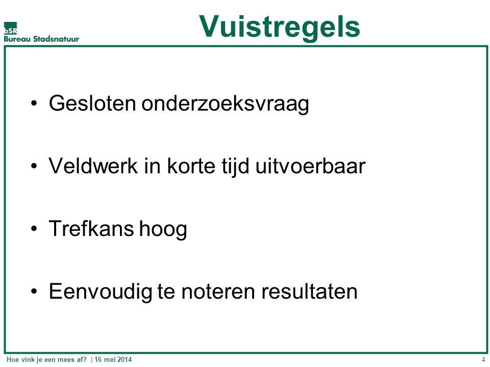 Vuistregels Gesloten onderzoeksvraag Veldwerk in korte tijd uitvoerbaar Trefkans hoog Eenvoudig te noteren resultaten 4Hoe vink je een mees af? | 16 m