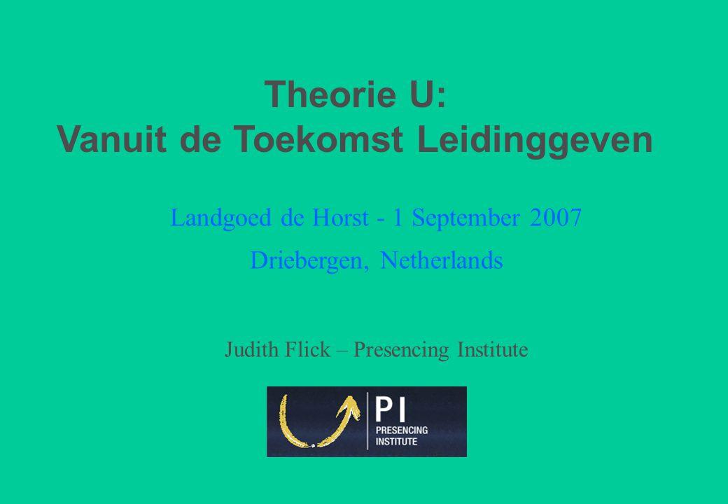 Landgoed de Horst - 1 September 2007 Driebergen, Netherlands Judith Flick – Presencing Institute Theorie U: Vanuit de Toekomst Leidinggeven