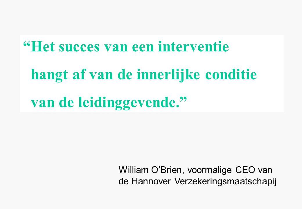 William O'Brien, voormalige CEO van de Hannover Verzekeringsmaatschapij Het succes van een interventie hangt af van de innerlijke conditie van de leidinggevende.