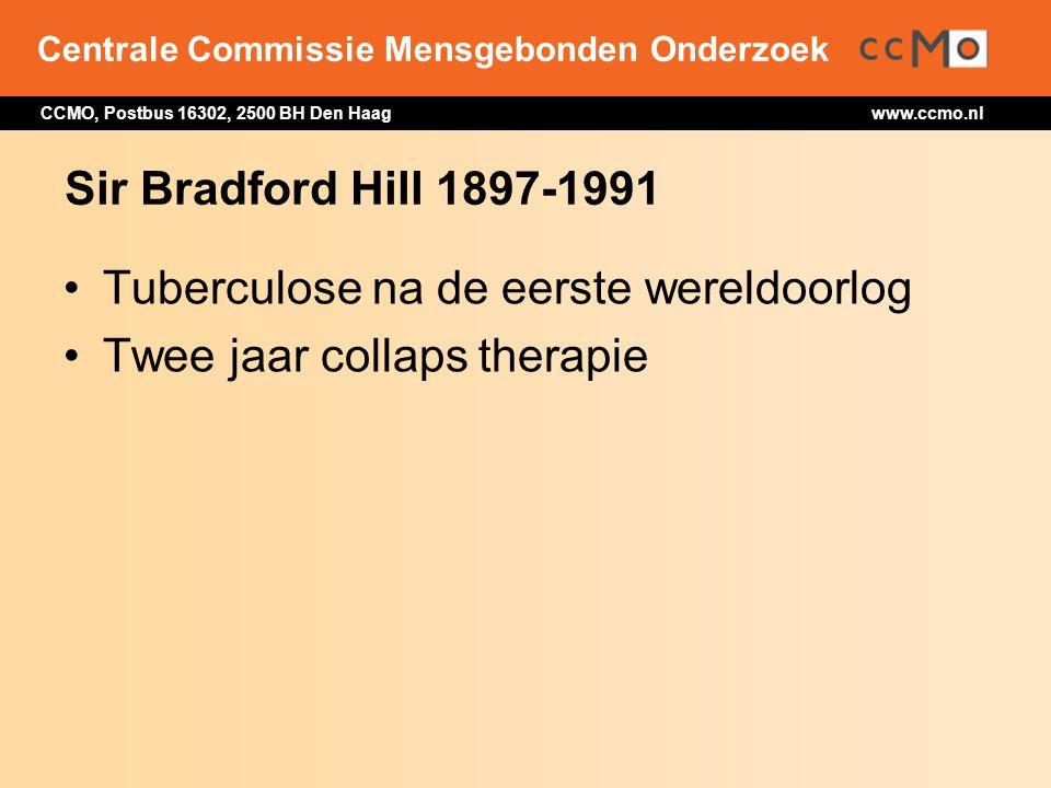 Centrale Commissie Mensgebonden Onderzoek CCMO, Postbus 16302, 2500 BH Den Haag www.ccmo.nl Sir Bradford Hill 1897-1991 Tuberculose na de eerste werel