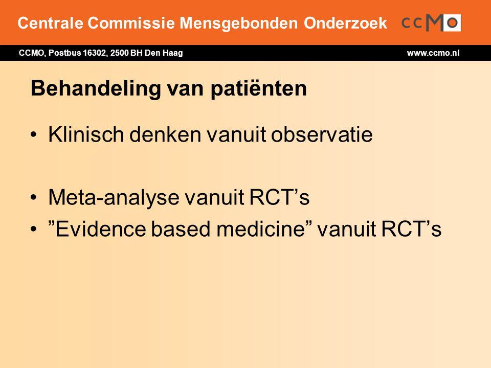 Centrale Commissie Mensgebonden Onderzoek CCMO, Postbus 16302, 2500 BH Den Haag www.ccmo.nl Behandeling van patiënten Klinisch denken vanuit observati