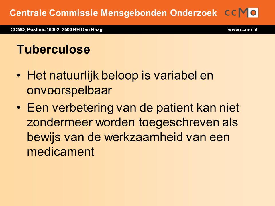 Centrale Commissie Mensgebonden Onderzoek CCMO, Postbus 16302, 2500 BH Den Haag www.ccmo.nl Tuberculose Het natuurlijk beloop is variabel en onvoorspe
