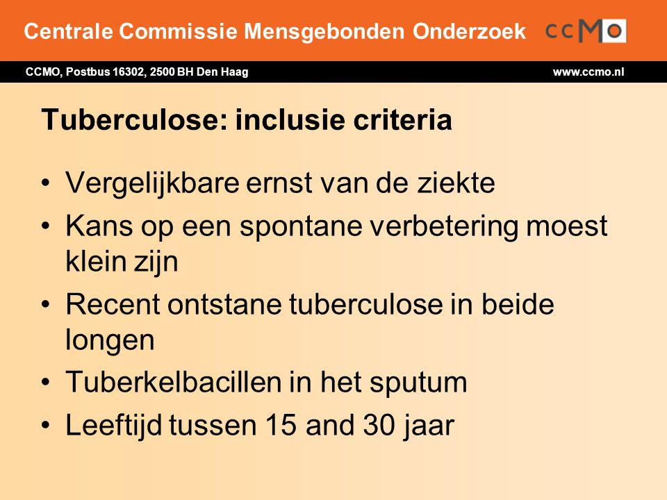 Centrale Commissie Mensgebonden Onderzoek CCMO, Postbus 16302, 2500 BH Den Haag www.ccmo.nl Tuberculose: inclusie criteria Vergelijkbare ernst van de
