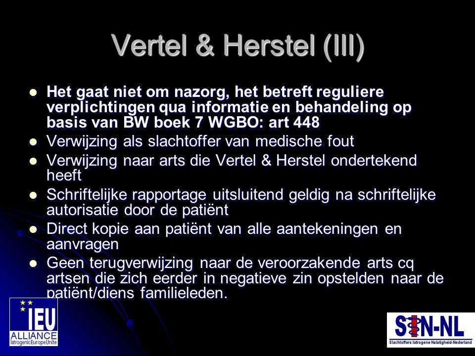 Vertel & Herstel (III) Het gaat niet om nazorg, het betreft reguliere verplichtingen qua informatie en behandeling op basis van BW boek 7 WGBO: art 44