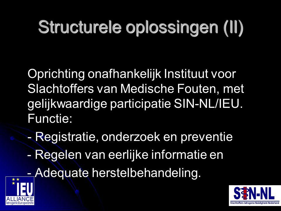 Structurele oplossingen (II) Oprichting onafhankelijk Instituut voor Slachtoffers van Medische Fouten, met gelijkwaardige participatie SIN-NL/IEU. Fun