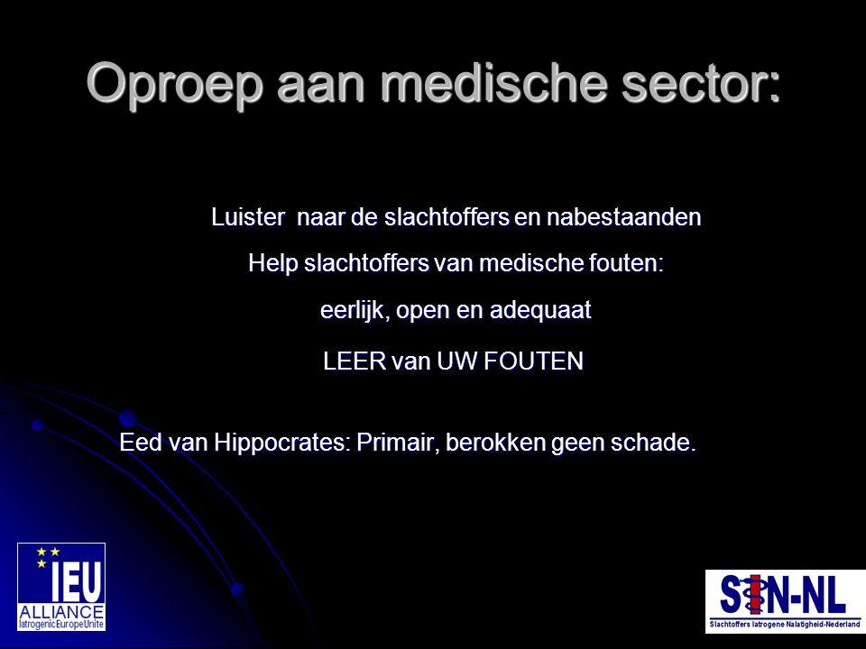 Oproep aan medische sector: Luister naar de slachtoffers en nabestaanden Help slachtoffers van medische fouten: eerlijk, open en adequaat Luister naar