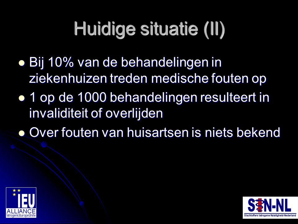 Huidige situatie (II) Bij 10% van de behandelingen in ziekenhuizen treden medische fouten op Bij 10% van de behandelingen in ziekenhuizen treden medis
