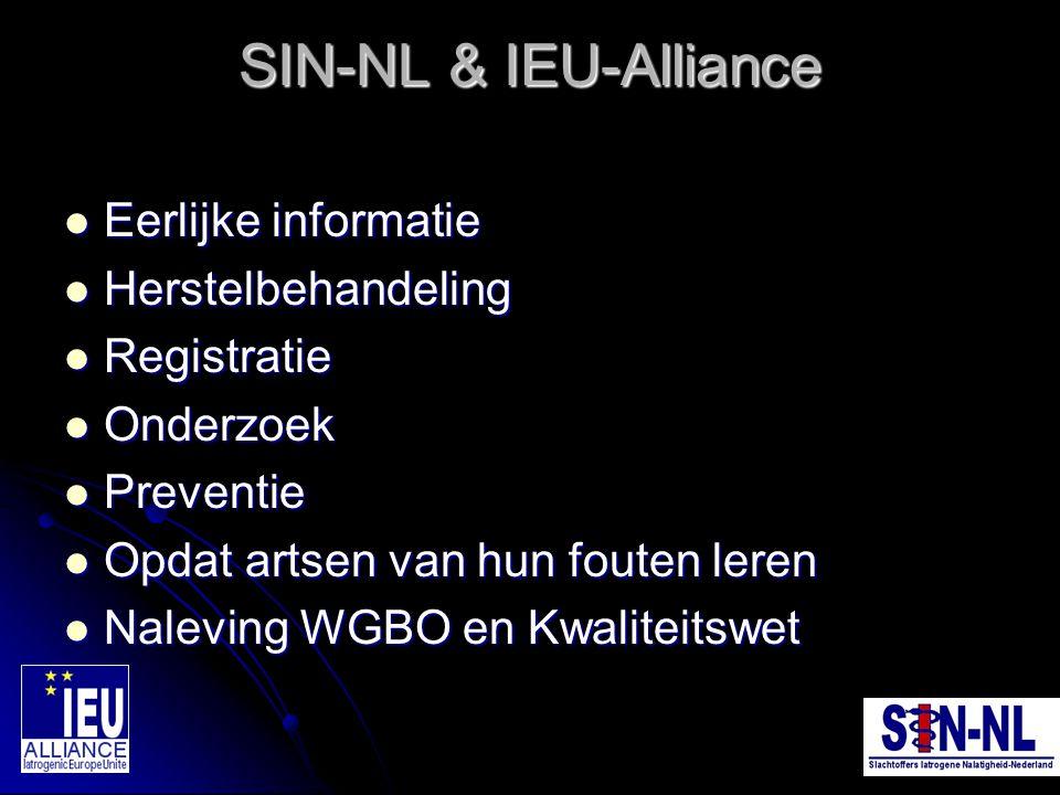 SIN-NL & IEU-Alliance Eerlijke informatie Eerlijke informatie Herstelbehandeling Herstelbehandeling Registratie Registratie Onderzoek Onderzoek Preven