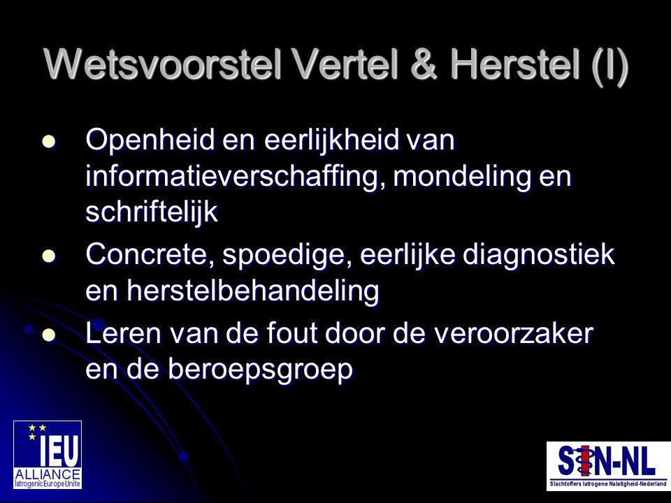Wetsvoorstel Vertel & Herstel (I) Openheid en eerlijkheid van informatieverschaffing, mondeling en schriftelijk Openheid en eerlijkheid van informatie