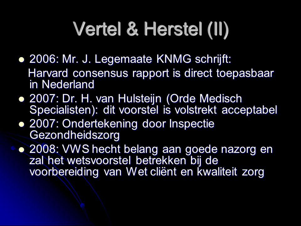 Vertel & Herstel (II) 2006: Mr. J. Legemaate KNMG schrijft: 2006: Mr. J. Legemaate KNMG schrijft: Harvard consensus rapport is direct toepasbaar in Ne