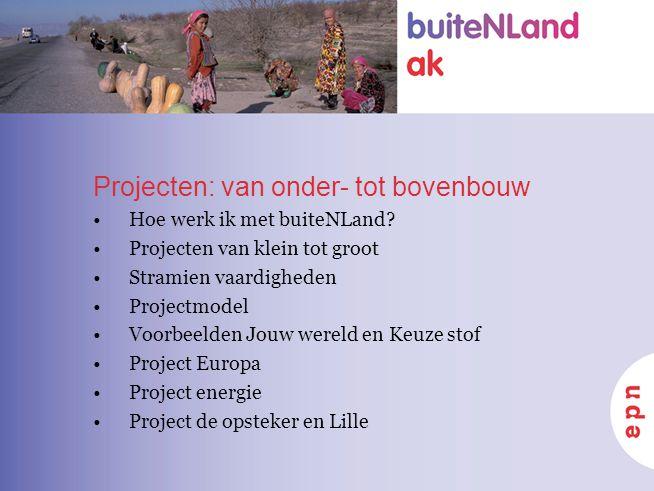 Projecten: van onder- tot bovenbouw Hoe werk ik met buiteNLand? Projecten van klein tot groot Stramien vaardigheden Projectmodel Voorbeelden Jouw were
