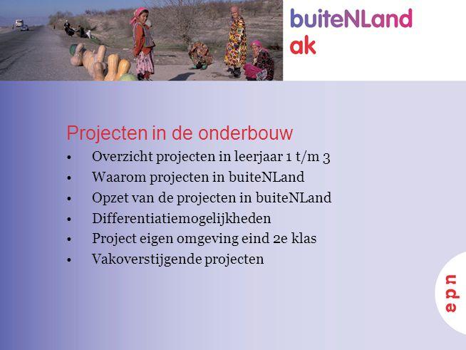 Projecten in de onderbouw Overzicht projecten in leerjaar 1 t/m 3 Waarom projecten in buiteNLand Opzet van de projecten in buiteNLand Differentiatiemo
