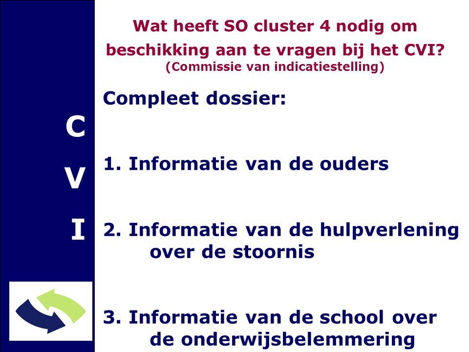CVICVI Compleet dossier: 1. Informatie van de ouders 2. Informatie van de hulpverlening over de stoornis 3. Informatie van de school over de onderwijs