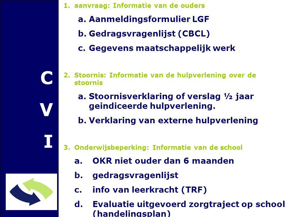 CVICVI 1.aanvraag: Informatie van de ouders a.Aanmeldingsformulier LGF b.Gedragsvragenlijst (CBCL) c.Gegevens maatschappelijk werk 2.Stoornis: Informatie van de hulpverlening over de stoornis a.Stoornisverklaring of verslag ½ jaar geindiceerde hulpverlening.