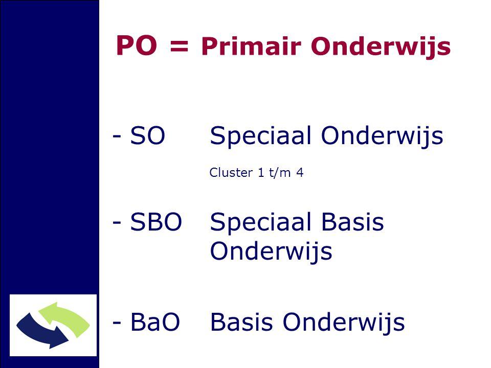 PO = Primair Onderwijs -SO Speciaal Onderwijs Cluster 1 t/m 4 -SBO Speciaal Basis Onderwijs -BaOBasis Onderwijs