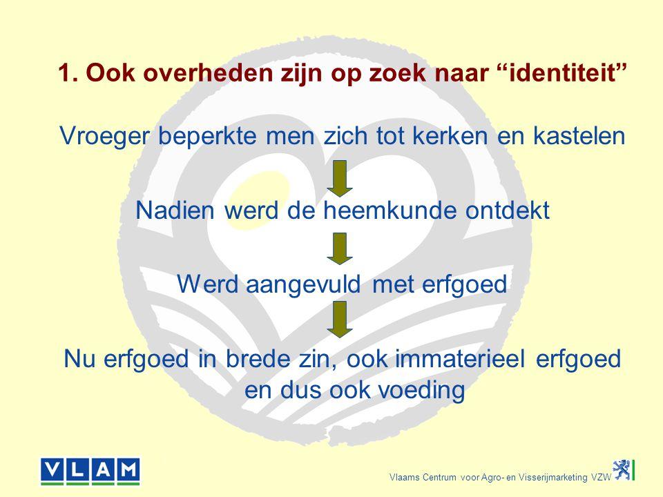 """Vlaams Centrum voor Agro- en Visserijmarketing VZW 1. Ook overheden zijn op zoek naar """"identiteit"""" Vroeger beperkte men zich tot kerken en kastelen Na"""