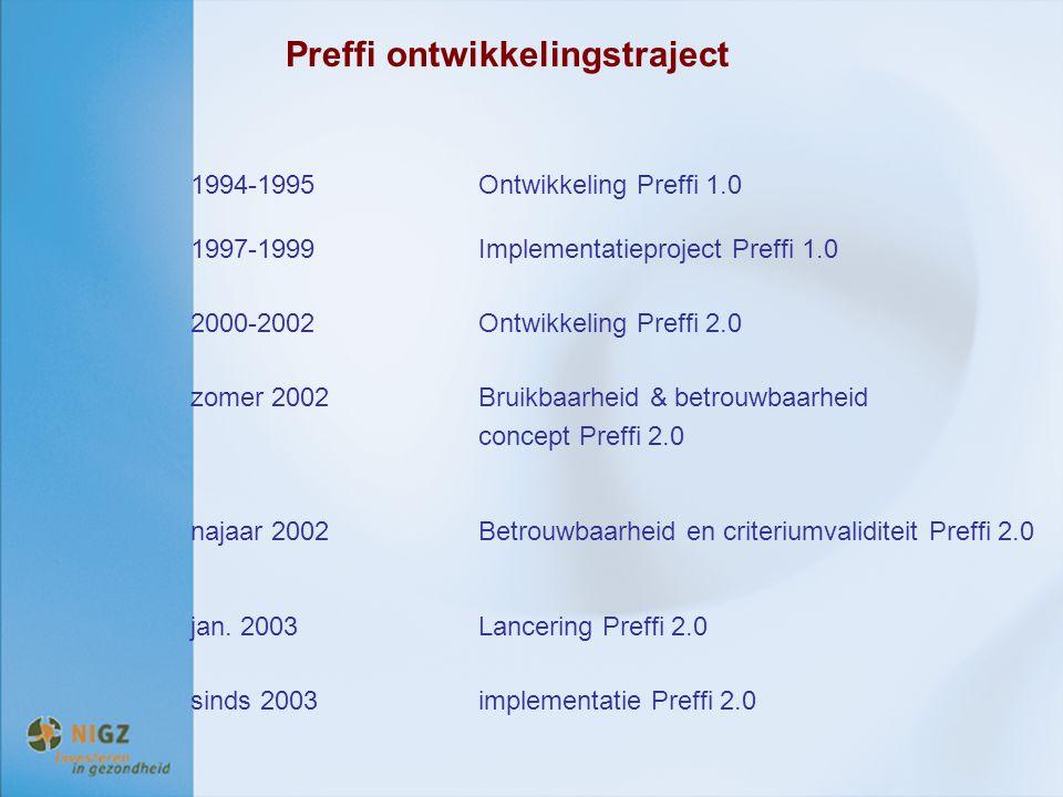 Preffi ontwikkelingstraject 1994-1995Ontwikkeling Preffi 1.0 1997-1999Implementatieproject Preffi 1.0 2000-2002Ontwikkeling Preffi 2.0 zomer 2002Bruik