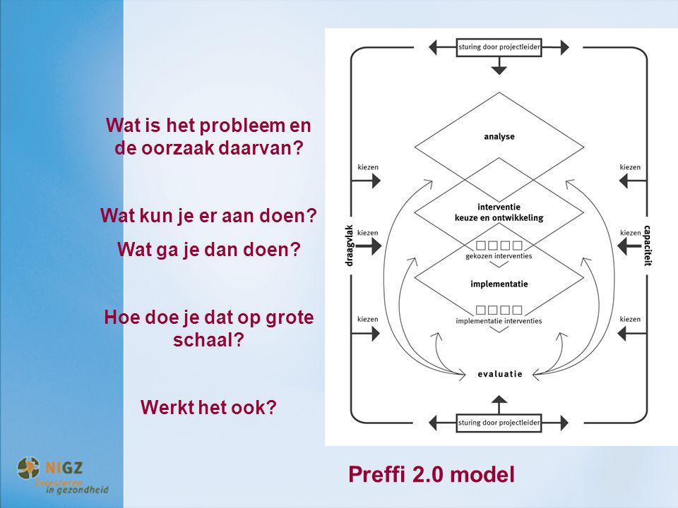 Wat is het probleem en de oorzaak daarvan? Wat kun je er aan doen? Wat ga je dan doen? Hoe doe je dat op grote schaal? Werkt het ook? Preffi 2.0 model