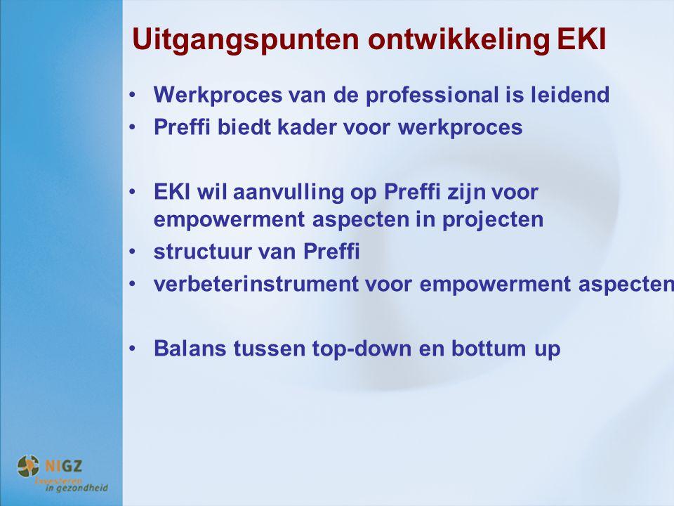 Uitgangspunten ontwikkeling EKI Werkproces van de professional is leidend Preffi biedt kader voor werkproces EKI wil aanvulling op Preffi zijn voor em