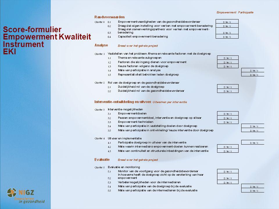 Score-formulier Empowerment Kwaliteit Instrument EKI