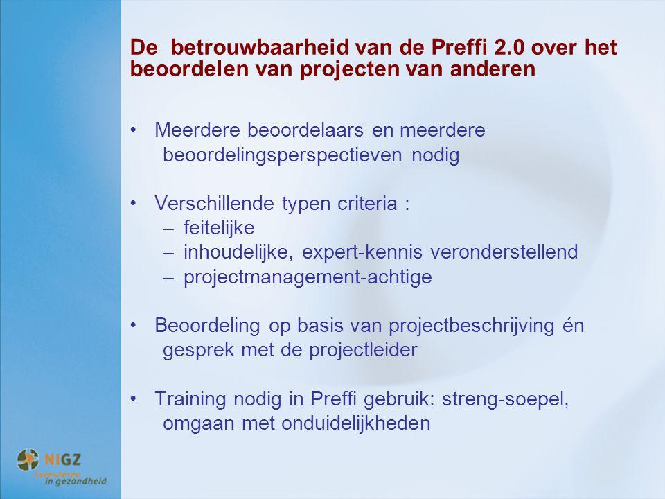 De betrouwbaarheid van de Preffi 2.0 over het beoordelen van projecten van anderen Meerdere beoordelaars en meerdere beoordelingsperspectieven nodig V