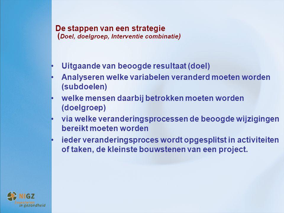 De stappen van een strategie ( Doel, doelgroep, Interventie combinatie ) Uitgaande van beoogde resultaat (doel) Analyseren welke variabelen veranderd