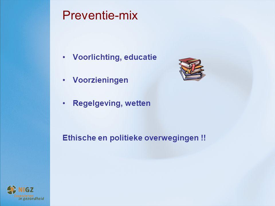 Preventie-mix Voorlichting, educatie Voorzieningen Regelgeving, wetten Ethische en politieke overwegingen !!