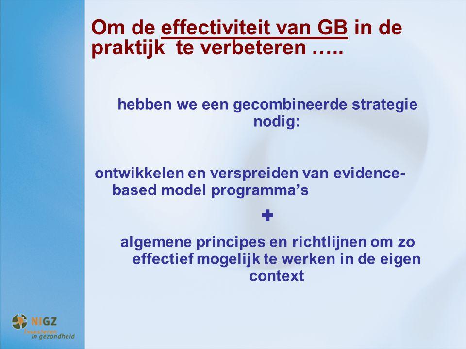 Om de effectiviteit van GB in de praktijk te verbeteren ….. hebben we een gecombineerde strategie nodig: ontwikkelen en verspreiden van evidence- base