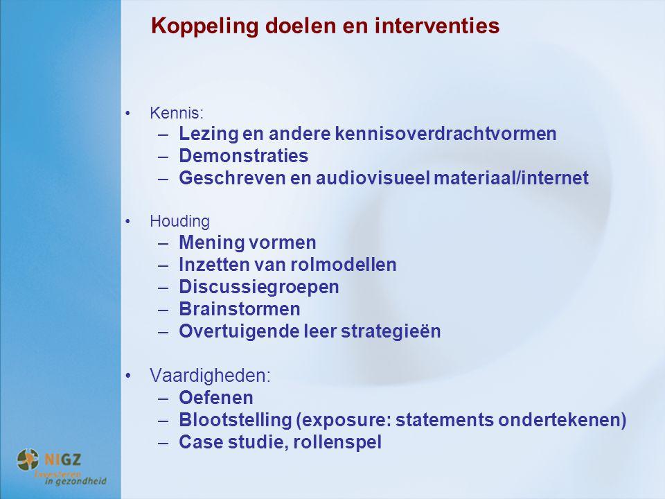 Koppeling doelen en interventies Kennis: –Lezing en andere kennisoverdrachtvormen –Demonstraties –Geschreven en audiovisueel materiaal/internet Houdin