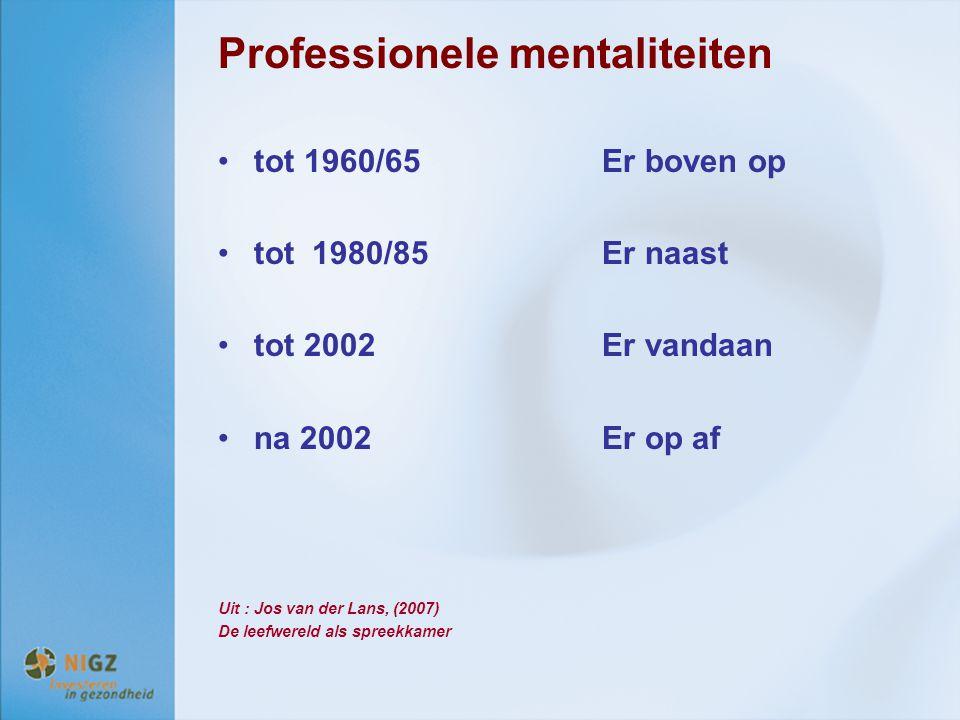 Professionele mentaliteiten tot 1960/65Er boven op tot 1980/85Er naast tot 2002Er vandaan na 2002Er op af Uit : Jos van der Lans, (2007) De leefwereld