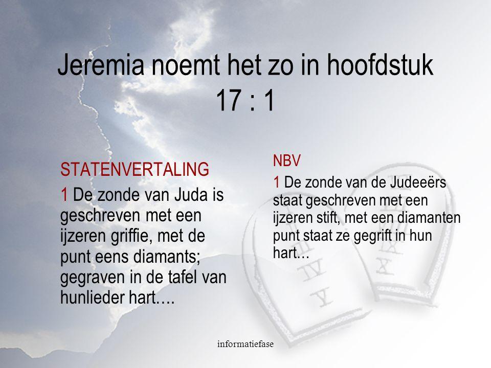 informatiefase Jeremia noemt het zo in hoofdstuk 17 : 1 STATENVERTALING 1 De zonde van Juda is geschreven met een ijzeren griffie, met de punt eens di