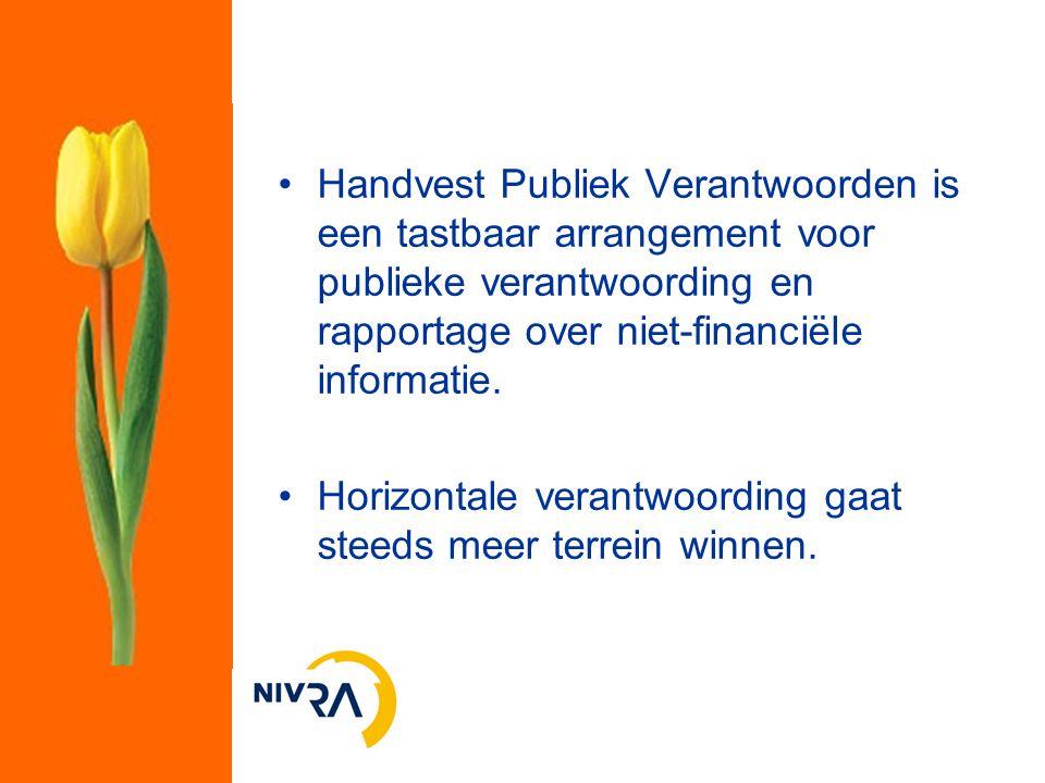 Handvest Publiek Verantwoorden is een tastbaar arrangement voor publieke verantwoording en rapportage over niet-financiële informatie. Horizontale ver