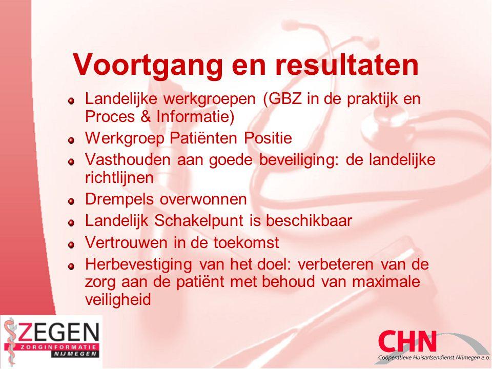 Voortgang en resultaten Landelijke werkgroepen (GBZ in de praktijk en Proces & Informatie) Werkgroep Patiënten Positie Vasthouden aan goede beveiligin