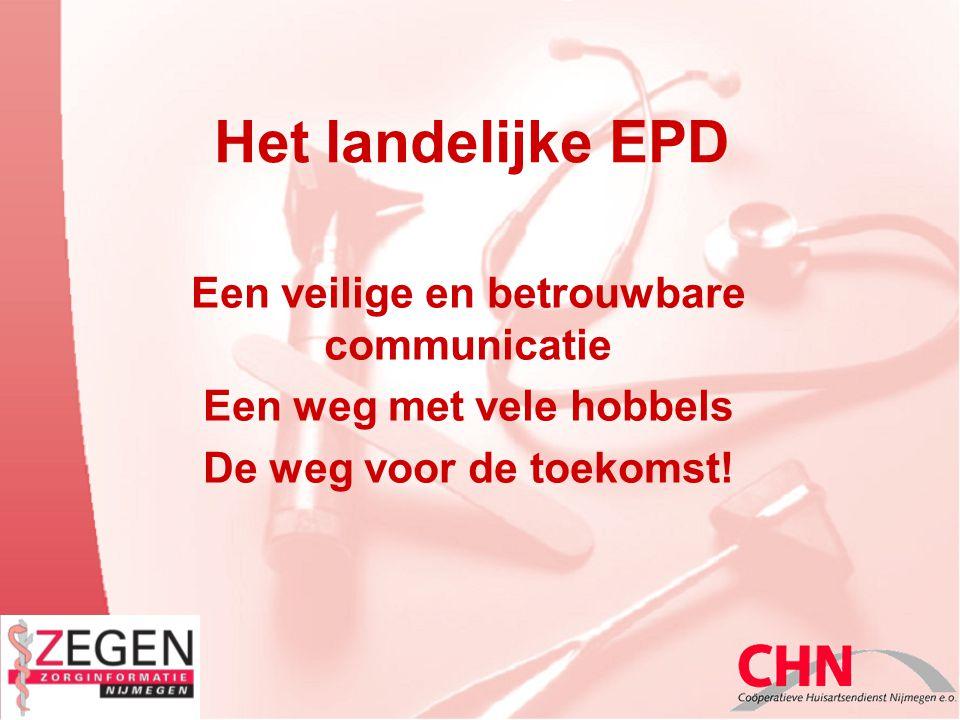 Het landelijke EPD Een veilige en betrouwbare communicatie Een weg met vele hobbels De weg voor de toekomst!