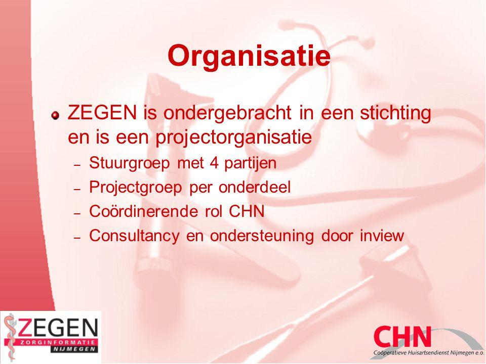 Organisatie ZEGEN is ondergebracht in een stichting en is een projectorganisatie – Stuurgroep met 4 partijen – Projectgroep per onderdeel – Coördinerende rol CHN – Consultancy en ondersteuning door inview
