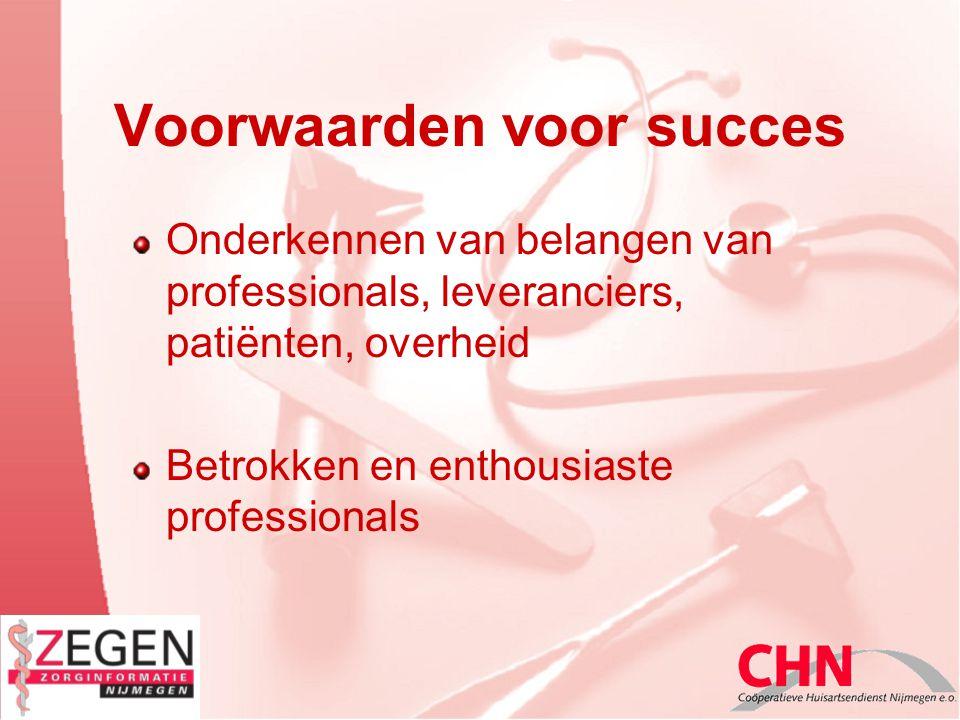 Voorwaarden voor succes Onderkennen van belangen van professionals, leveranciers, patiënten, overheid Betrokken en enthousiaste professionals