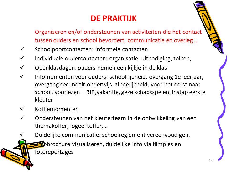10 DE PRAKTIJK Organiseren en/of ondersteunen van activiteiten die het contact tussen ouders en school bevordert, communicatie en overleg… Schoolpoort