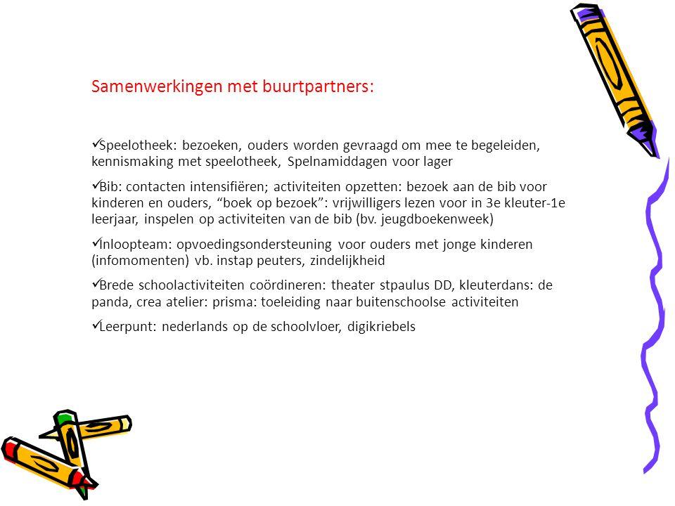 Samenwerkingen met buurtpartners: Speelotheek: bezoeken, ouders worden gevraagd om mee te begeleiden, kennismaking met speelotheek, Spelnamiddagen voo
