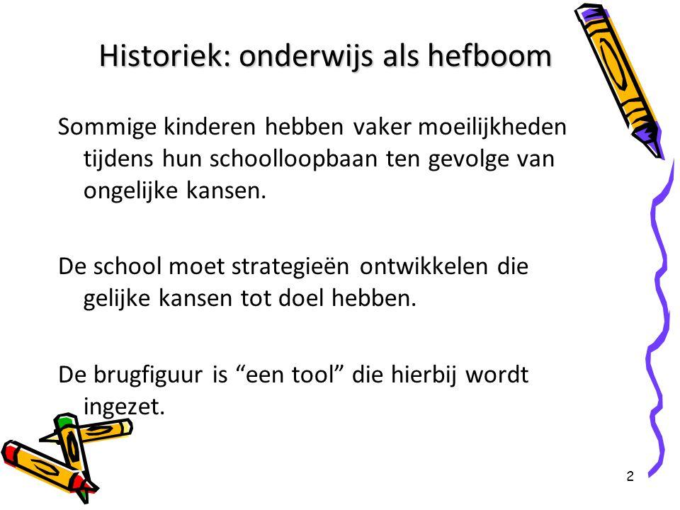 2 Historiek: onderwijs als hefboom Sommige kinderen hebben vaker moeilijkheden tijdens hun schoolloopbaan ten gevolge van ongelijke kansen. De school