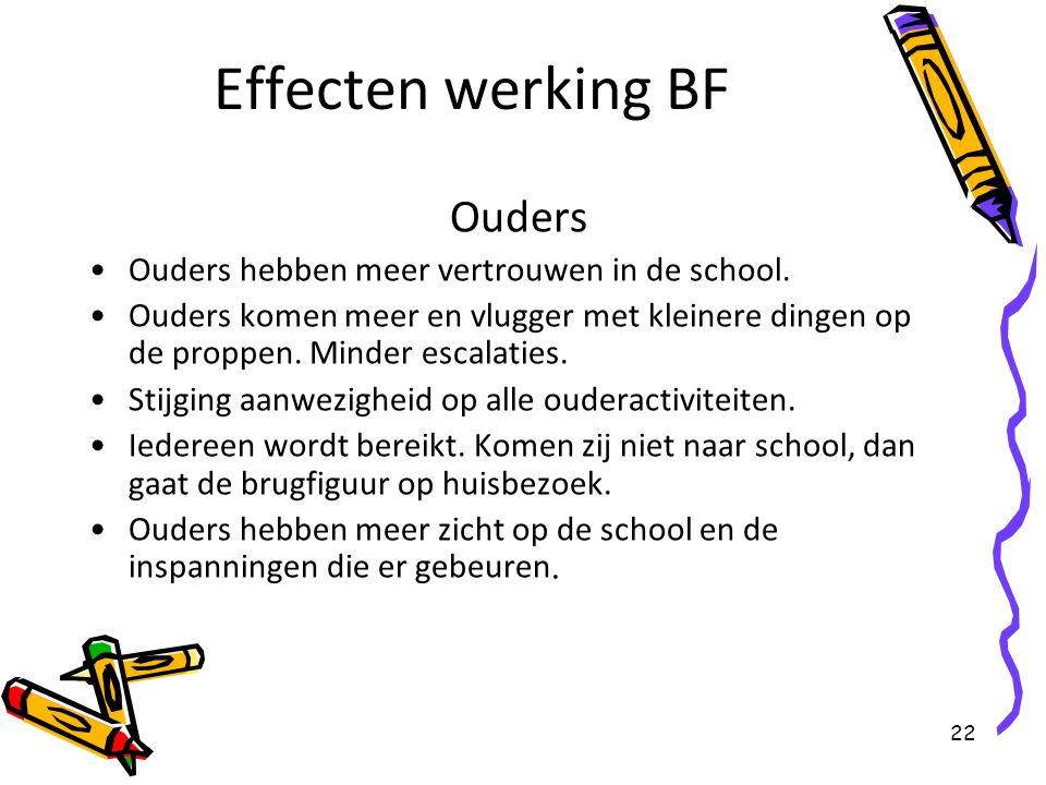 22 Effecten werking BF Ouders Ouders hebben meer vertrouwen in de school. Ouders komen meer en vlugger met kleinere dingen op de proppen. Minder escal