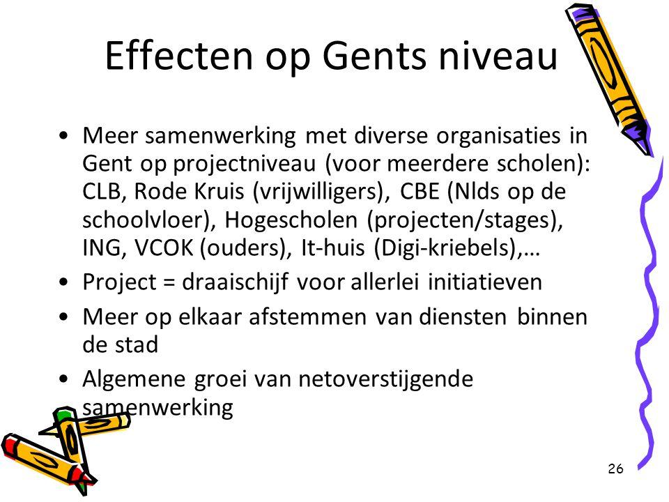 26 Effecten op Gents niveau Meer samenwerking met diverse organisaties in Gent op projectniveau (voor meerdere scholen): CLB, Rode Kruis (vrijwilliger