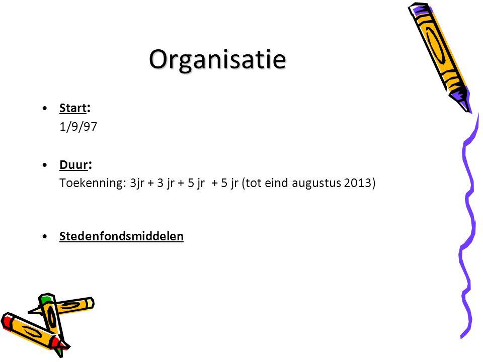 Organisatie Start : 1/9/97 Duur : Toekenning: 3jr + 3 jr + 5 jr + 5 jr (tot eind augustus 2013) Stedenfondsmiddelen