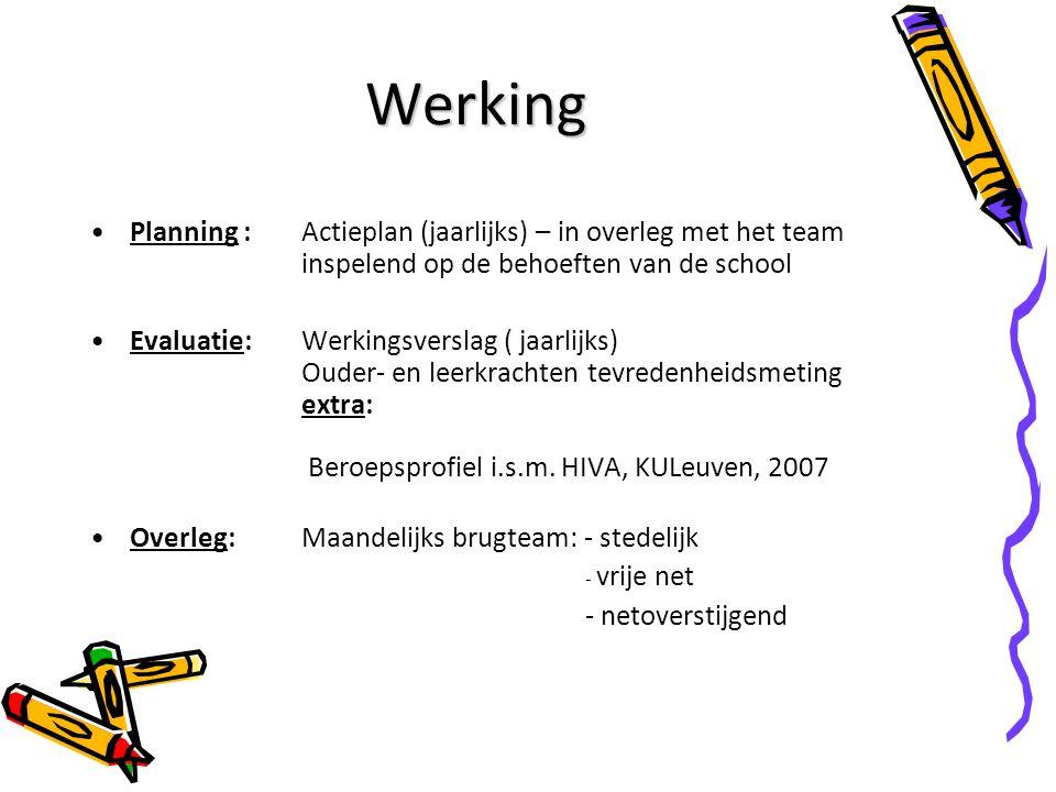 Werking Planning : Actieplan (jaarlijks) – in overleg met het team inspelend op de behoeften van de school Evaluatie: Werkingsverslag ( jaarlijks) Oud